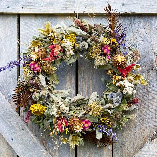 A gorgeous Springtime Floral Wreath made from dried flowers and leaves.