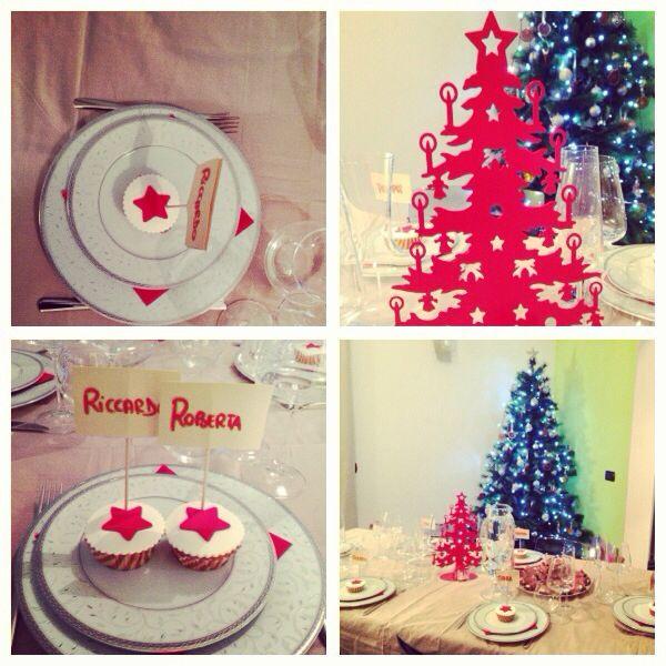 Our Xmas dinner: stars red&white. December 2013