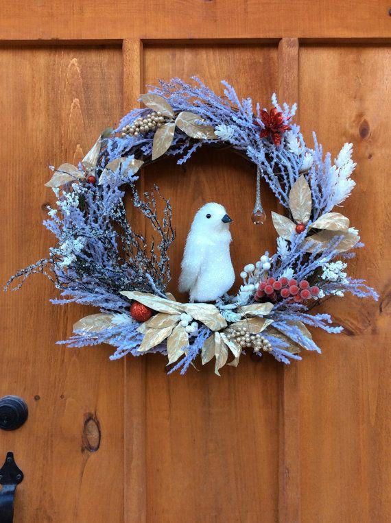White Penguin Seasonal Wreath, Winter, Wildlife,  Christmas, Grapevine Wreath, Artificial Silk Flower Front Door/Wall Decor, Made In Canada