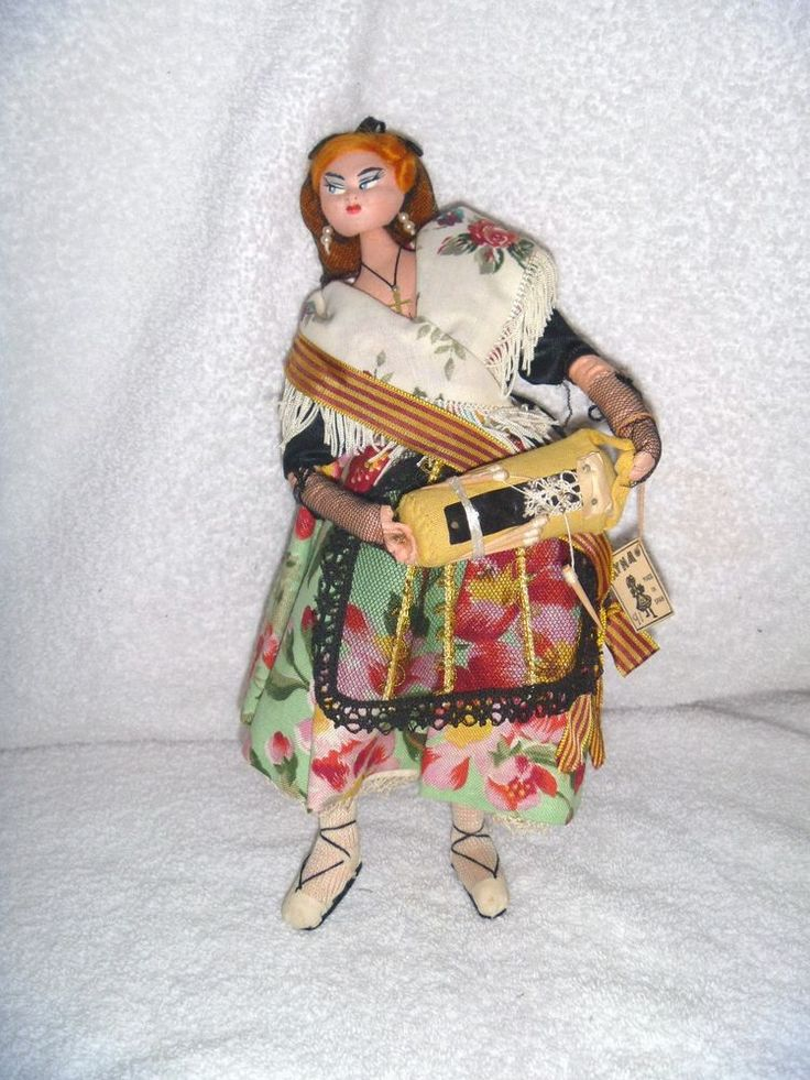 VINTAGE LAYNA COLLECTIBLE DOLL, CLOTH, SPAIN, W/TAG, LONG RED HAIR, FRINGE SHAWL #DollswithClothingAccessories