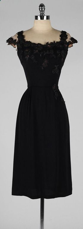 Vintage 1950s Peggy Hunt Black Illusion Lace Cocktail Dress