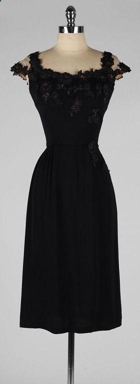 Vintage 1950s Peggy Hunt Black Illusion Lace Cocktail Dress
