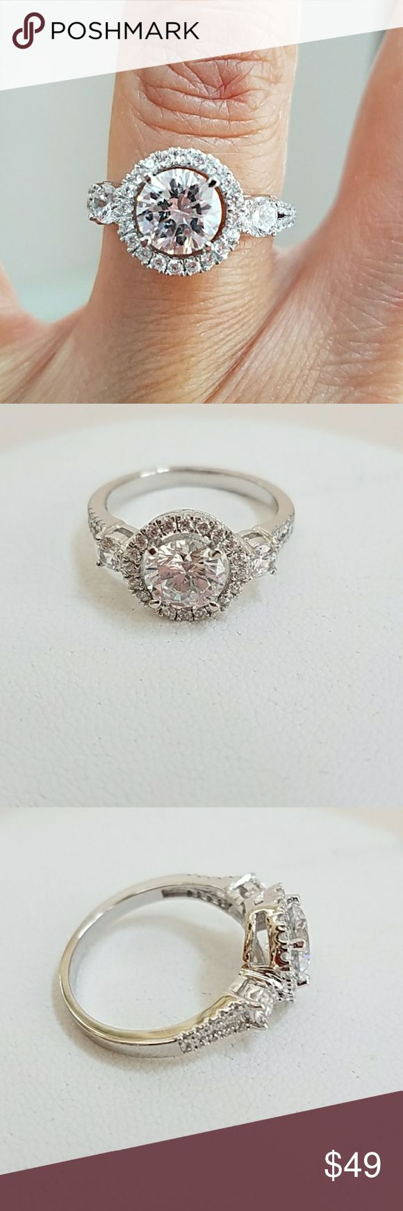 14k gold plated Engagement Ring 14k gold plated Engagement Ring with one karat CZ Center stone  Available in sizes 5 6 7 8 9 Item#SSRG320-14 Jewelry Rings