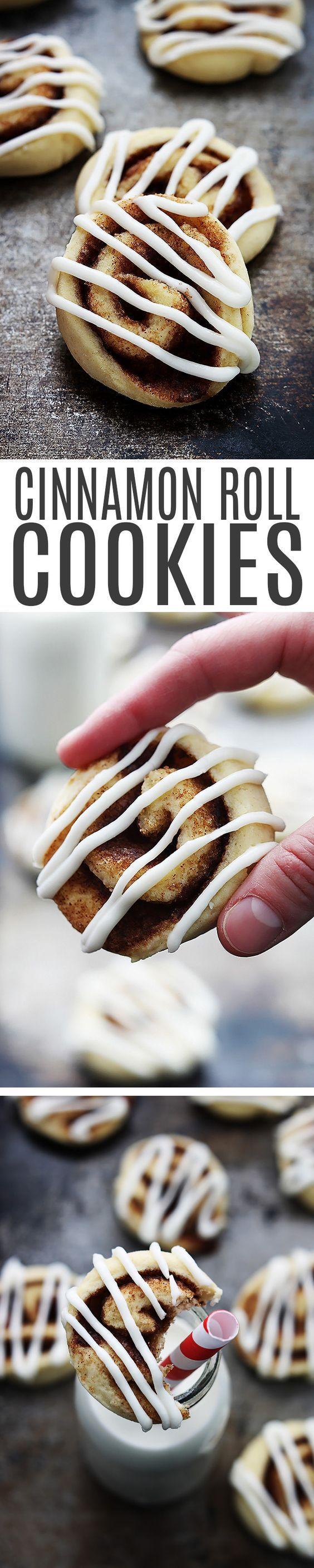 Soft, perfectly sweet cinnamon roll sugar cookies with cream cheese frosting! Cinnamon Roll Cookies Recipe | Creme De La Crumb