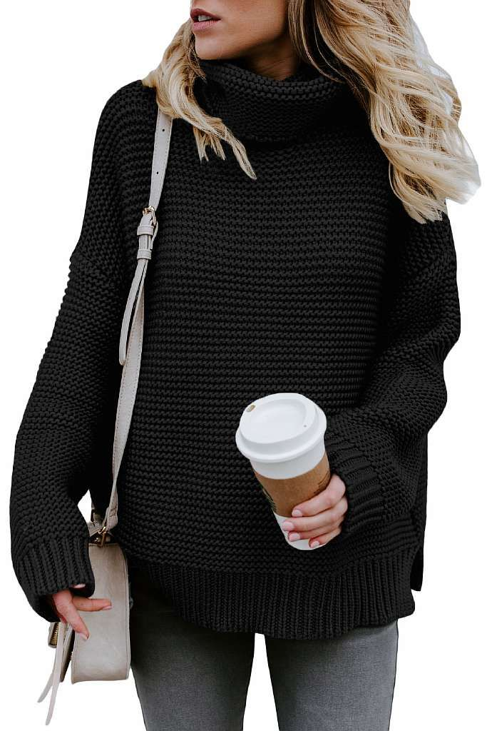 Simlu Womens Open Front Cardigan Sweater Ruffle Long Sleeve Cardigan Reg  and Plus Size - Made in USA - Findanew. Black Cozy Long Sleeves Turtleneck  Sweater ... 7fa6df355
