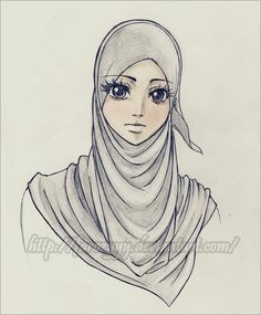 sketches of hijab girls - Google Search