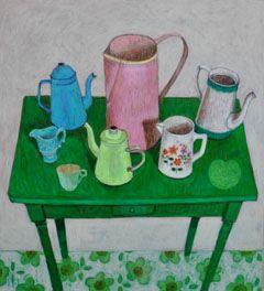Andrea Letterie, Groene tafel met kannetjes, Gemengde technieken op paneel, 50x55 cm, €.750,-