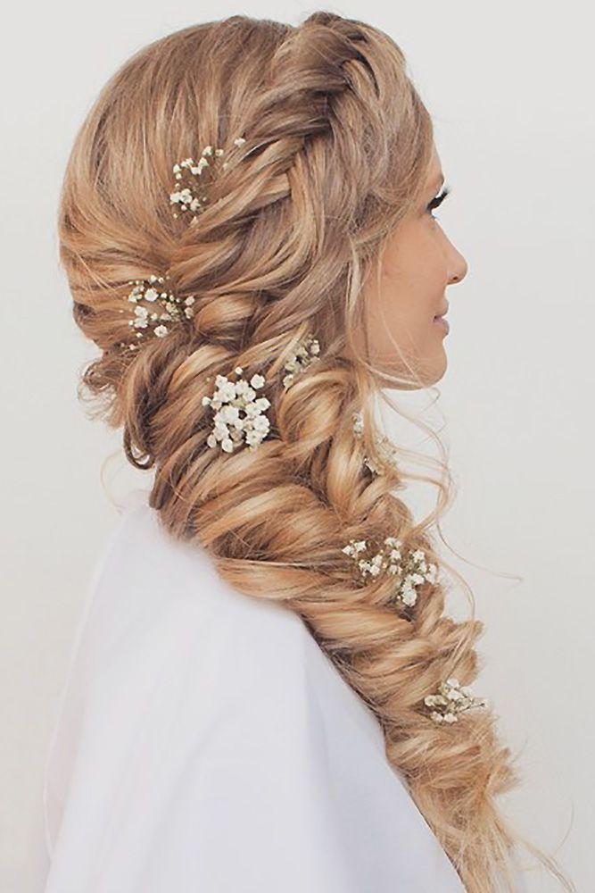 Geflochtene Hochzeit Haar Seite Meerjungfrau Zopf und Krone mit Baby Atem Blumen Haar