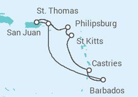 Itinerário do Cruzeiro Caraíbas Orientais - Carnival Cruise Line