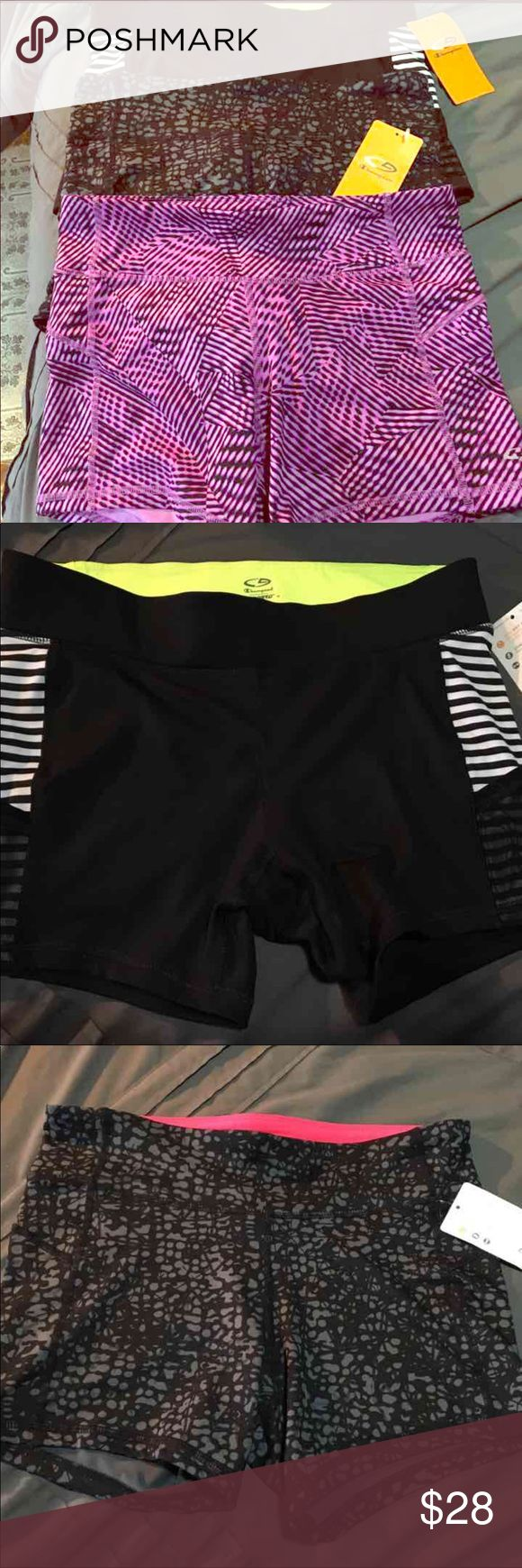 New! Woman's Workout Shorts Brand New! (Purple shorts do not have tag, but are new. Never worn).  Bundle of 3 workout shorts for $24! Great deal :) Champion Shorts