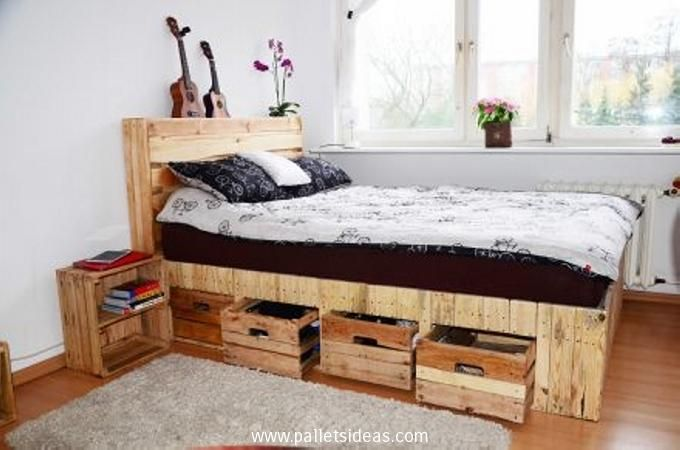 Recycled Wooden Pallet Headboard with Shelves
