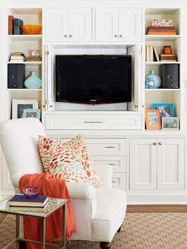 Tv cabinet: Built In Cabinets, Decor Ideas, Cupboards Separates, Decorating Ideas, Tv Cabinets, Hgtv Magazines, Family Rooms, Throw Pillows, Families Rooms