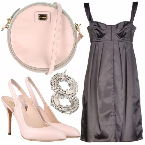 Outfit elegante, ottimo per questo periodo di matrimoni, pensato per una giovane donna molto attenta alla moda, che ami valorizzarsi e risultare femminile con pochi semplici tocchi di colore.