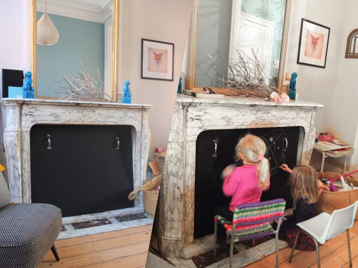 Cache chemin e tableau noir diy id es d coration maison pinterest brico - Decoration pour cheminee ...