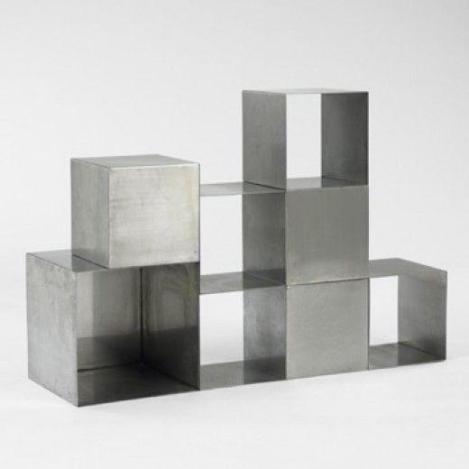 Maria Pergay, Matt Chrome-Plated Steel Storage Cubes, c1975.