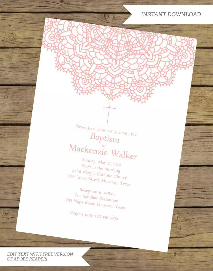 free online christening invitation making%0A Printable Instant Download Elegant Baptism Invitation   Baptism Invitation  for a Girl   Doilie Baptism Invitation
