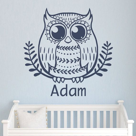 Muro decalcomanie Custom personalizzati nome Decal gufo foglie Frame vinile adesivo ragazzo camera da letto Nursery Baby camera bambini Playroom Home Decor LA15