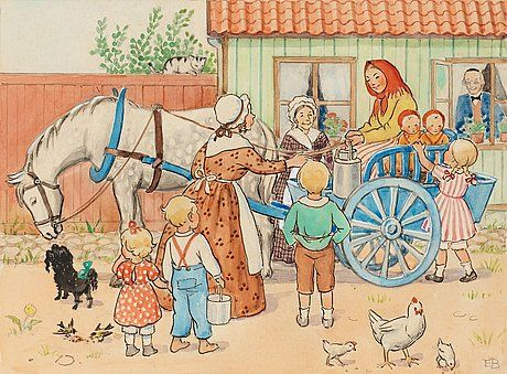 "Elsa Beskow - Young farmer's wife from ""Skogstorp"" brings milk to town - Peter and Lotta's Christmas"