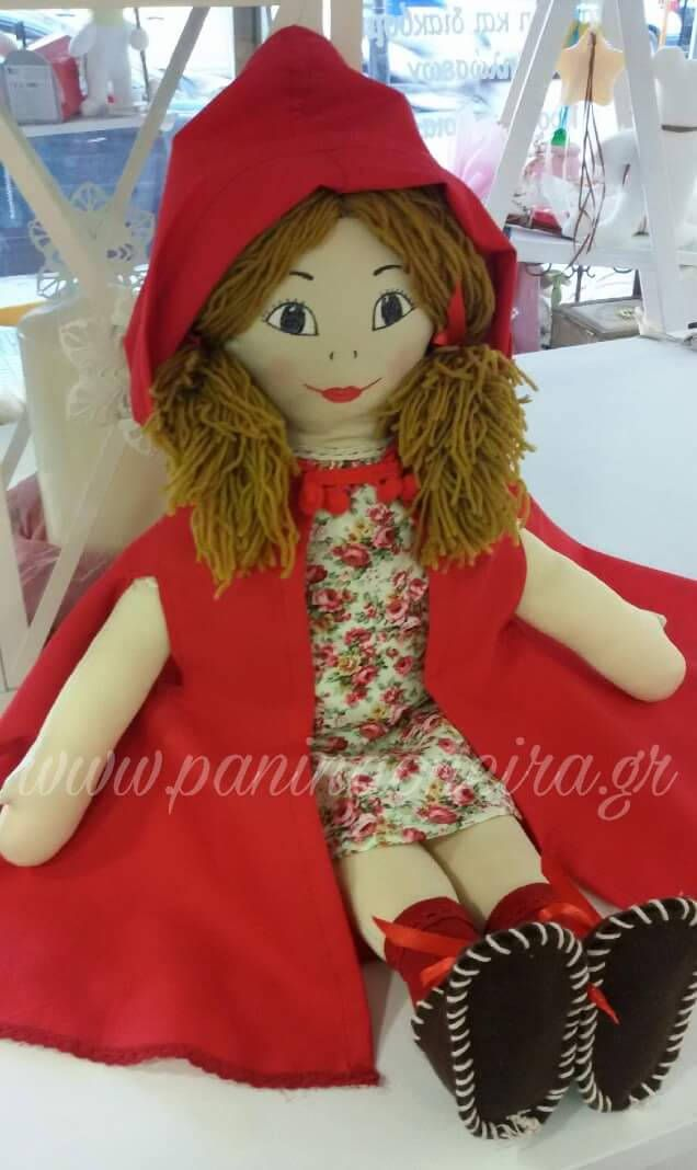 Red riding hood handmade doll,floral dress,felt shoes,red cape,painted face,wool hair,felt basket,nursury,decoration,birthday - baptism gift by paninaoneira on Etsy