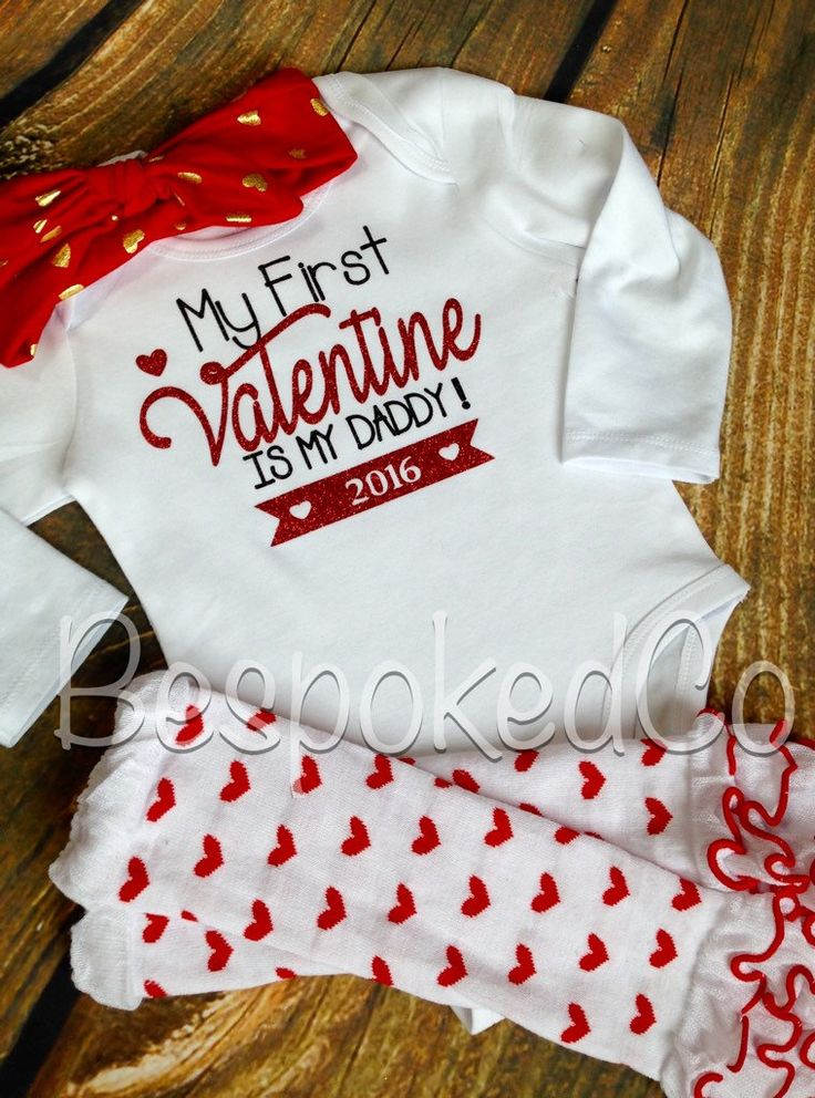 My first Valentine is My Daddy/ Daddy is my Valentine / My first Valentines Day Outfit / First Valentines Day shirt - pinned by pin4etsy.com