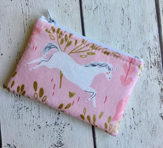 Pink Unicorn Themed Fabric Coin Purse £5.00