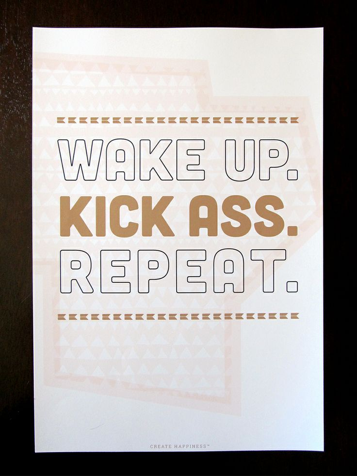 Wake Up and Kick Ass 13x19 Giclee Art Print (also available in sunny yellow).