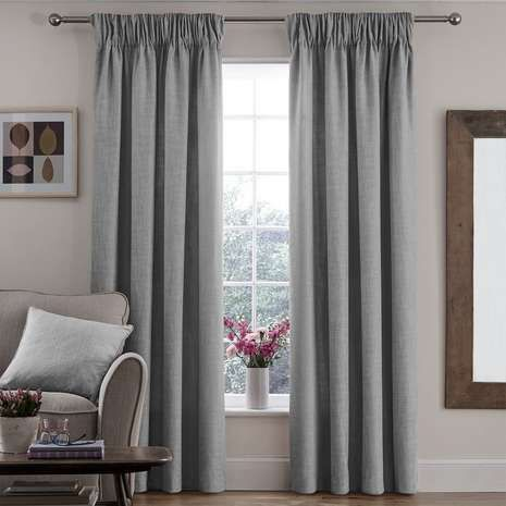 Vermont Grey Lined Pencil Pleat Curtains | Dunelm