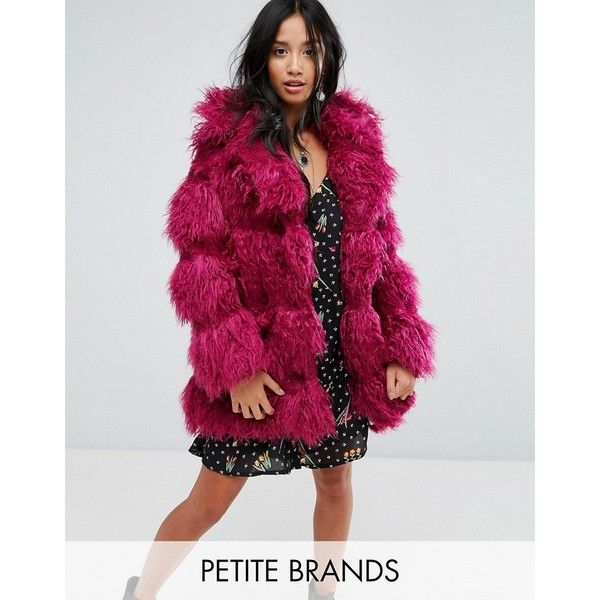 Glamorous Petite Coat In Snuggle Faux Fur (1.993.320 IDR) ❤ liked on Polyvore featuring outerwear, coats, petite, pink, pink coat, purple faux fur coat, cropped camisole, faux fur coat and pink cami