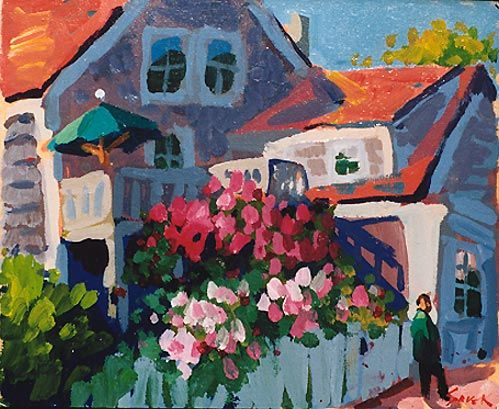 """Charles Sovek, Artist and Author  """"Colorful Yard, Provincetown"""" ...the way he """"sculpts"""" with light and shadow"""