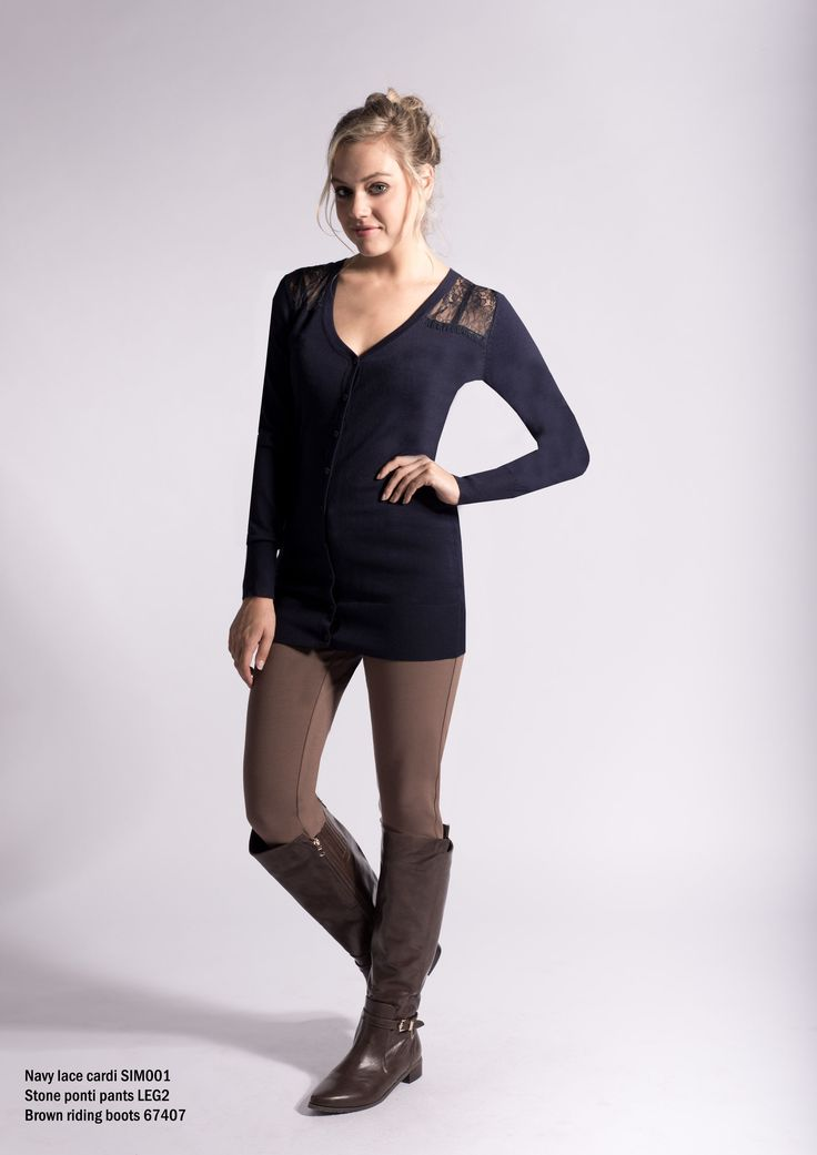 SIM001 Navy and lace cardigan