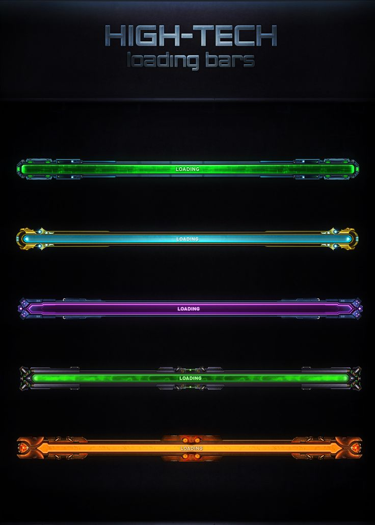 High-Tech Loading Bars by VengeanceMK1 game user interface gui ui | Create your own roleplaying game material w/ RPG Bard: www.rpgbard.com | Writing inspiration for Dungeons and Dragons DND D&D Pathfinder PFRPG Warhammer 40k Star Wars Shadowrun Call of Cthulhu Lord of the Rings LoTR + d20 fantasy science fiction scifi horror design | Not Trusty Sword art: click artwork for source