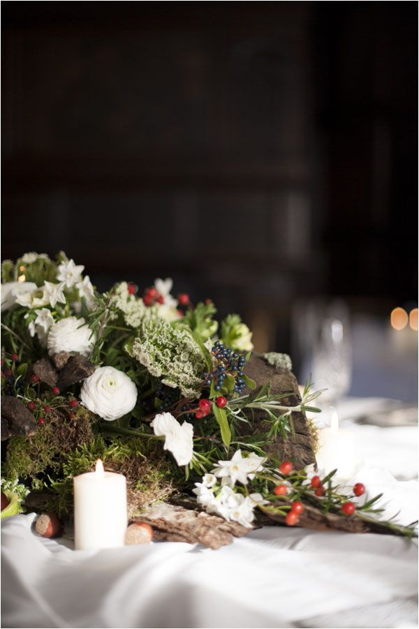 Table centres - A Winter's Tale - a warm winter wedding ideas shoot from Hampden House in Buckinghamshire