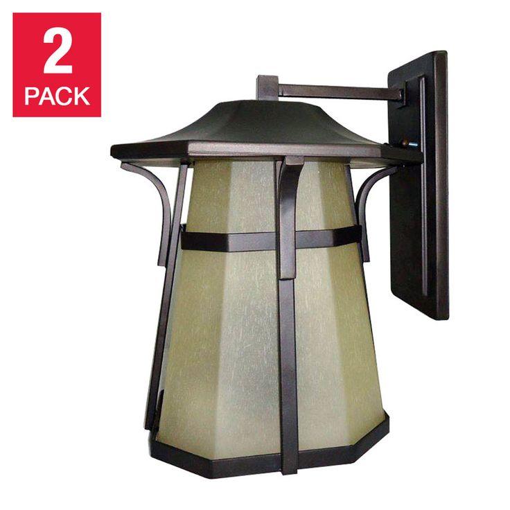 Litex Outdoor Wall Light Fixture Aged Bronze Coach Lamp 2-pack
