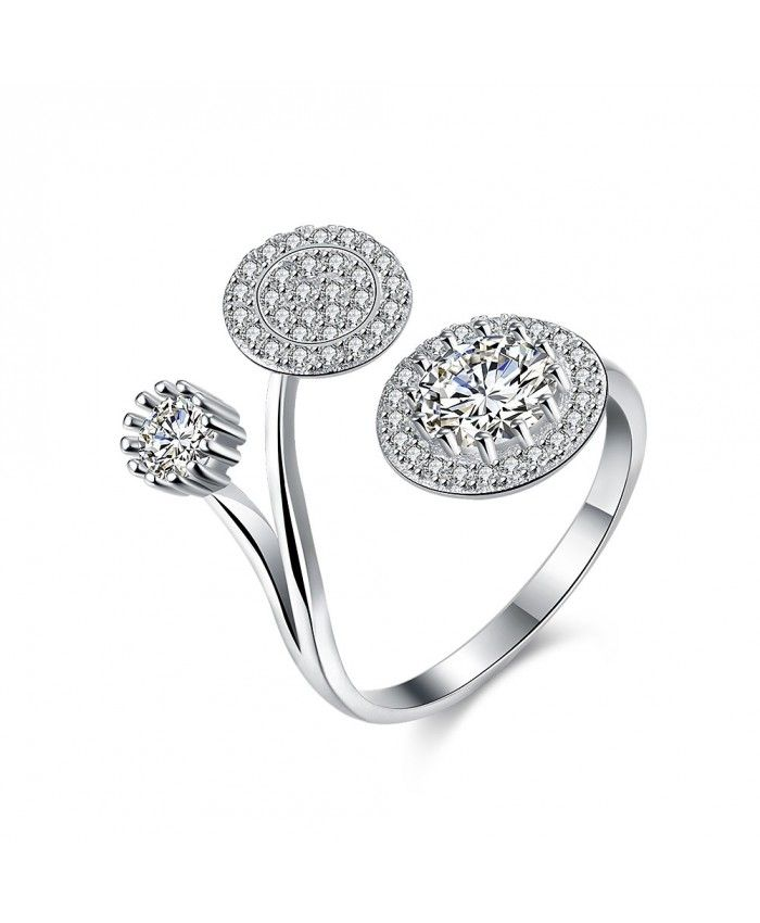 Unique design only for you.  Ouruora Two Bifurcation Flower Open Ring with Clear CZ