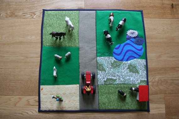Handmade farm play mat. Reversible star and space play by magpier