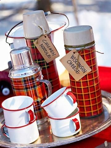 Host an Outdoor Winter Party | thermos - plaid - vintage