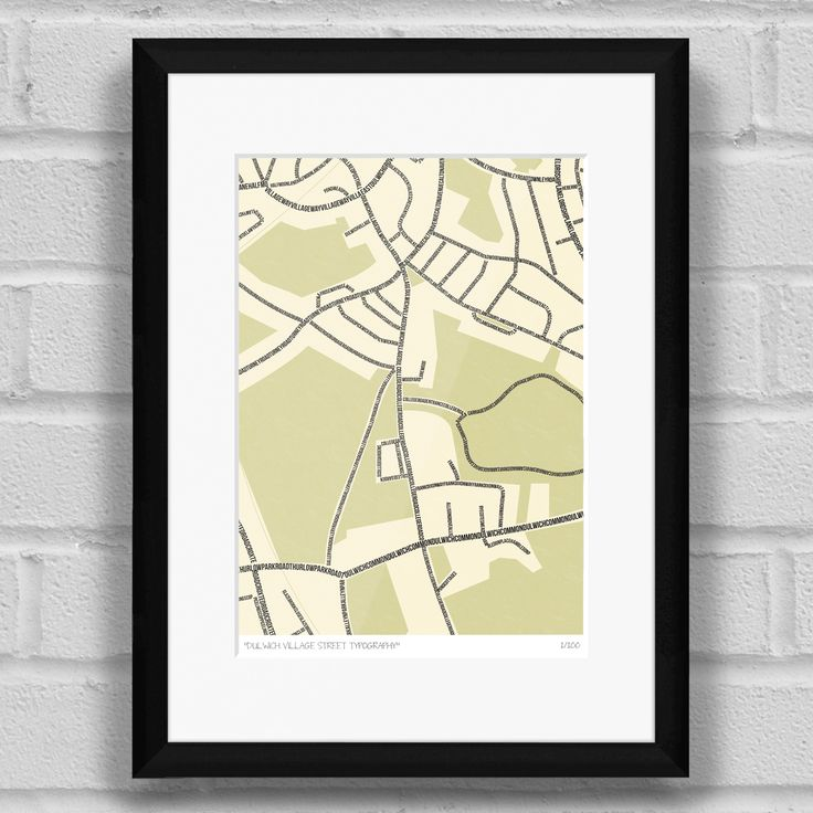 Dulwich Village Street Typography Map Art Poster Print Black Frame