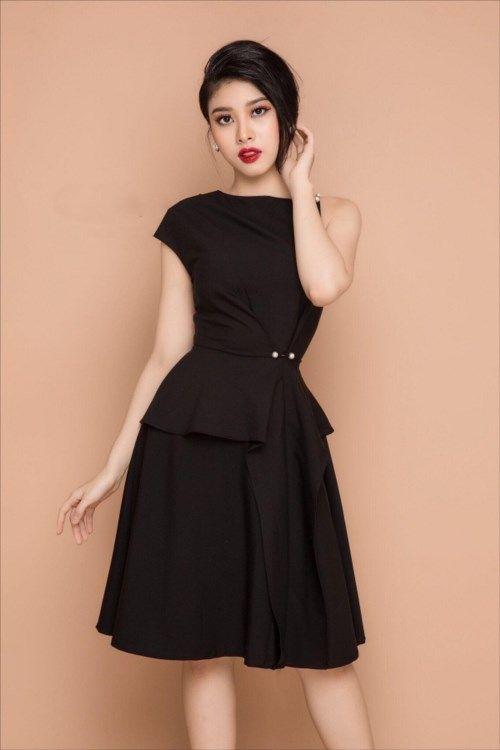 dambody.net - Đầm xòe lệch vai đính ngọc trai màu đen