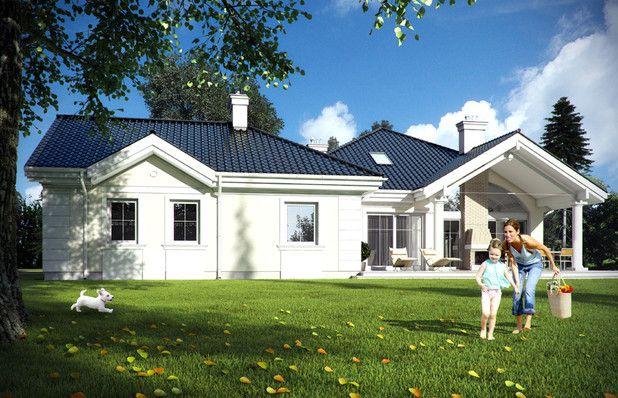 TKS-275 dom zaprojektowano z luzem i rozmachem charakterystycznym dla podmiejskich rezydencji. Wszystko jest tutaj duże i wygodne. Reprezentacyjnego szyku dodaje dworkowa architektura. Zwróć uwagę na kominek zewnętrzny na tarasie!