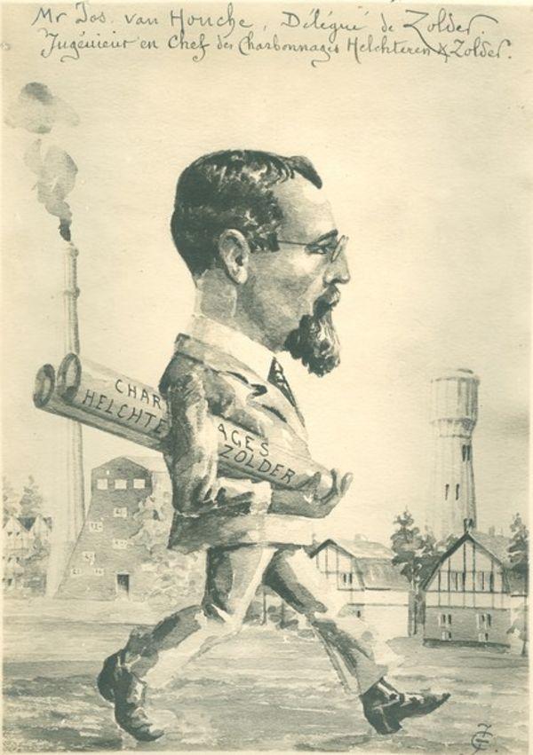 """Karikatuur uit 1919 van Jos Van Houcke, tussen 1919 tot 1933 directeur-gerant van de """"S.A. Charbonnages d'Helchteren et Zolder"""". [PAL/PCCE - 251.100.76]"""