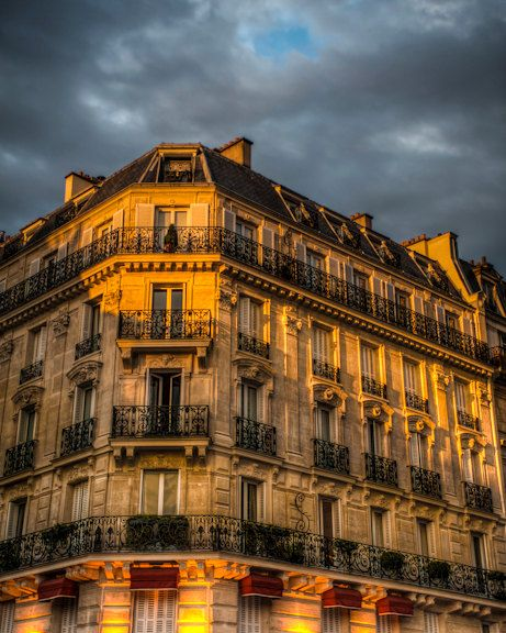 Paris photograph  apartment building lit by a stormy by robertcrum, $30.00