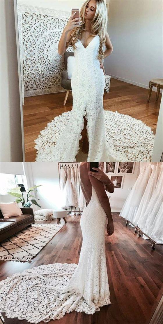 Spaghetti Strap V Neck Slim Line Lace Wedding Dresses Bride Gowns