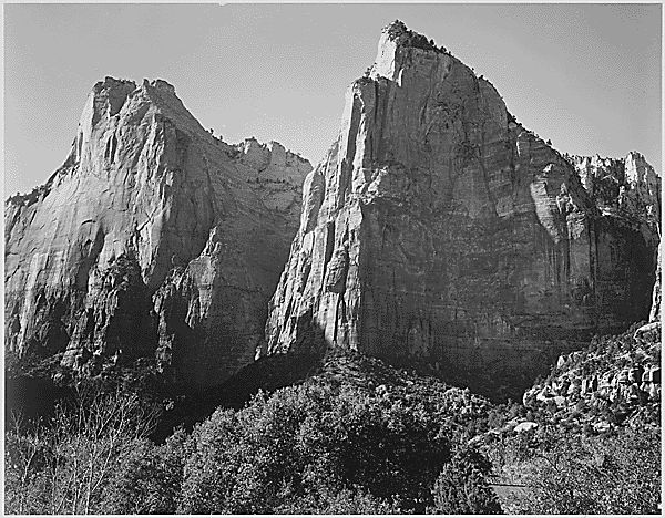 """""""Court of the Patriarchs, Zion National Park,"""" Utah by Ansel Adams"""