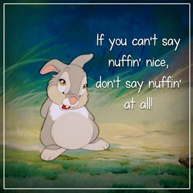"""If you can't say nothing nice, don't say nothing at all"" - disney quotes - oh poor Thumper, i have a cuddly i was bought for easter one year because i was obsessed with Bambi"