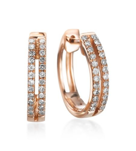 KC Designs - Diamond Hoops 14K Rose Gold Double Row Mini Diamond Hoops