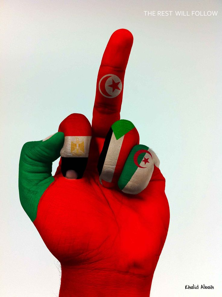 """The rest will follow"". Symbolic middle finger gesture representing the Tunisian Revolution and its influences in the Arab world. From left to right, the fingers are painted as flags of Libya, Egypt, Tunisia, Sudan and Algeria. The red-painted hand may be interpreted as a symbol of revolution"