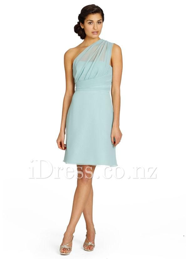 short chiffon one shoulder ice blue a-line bridesmaid dress from idress.co.nz
