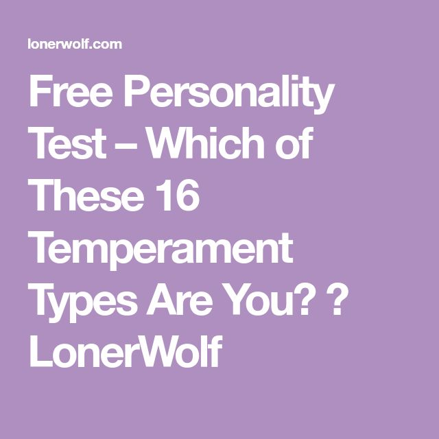 Free Personality Test – Which of These 16 Temperament Types Are You? ⋆ LonerWolf