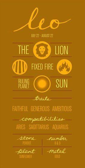 LEO (JULY 22 - AUG 22) - THE LION.