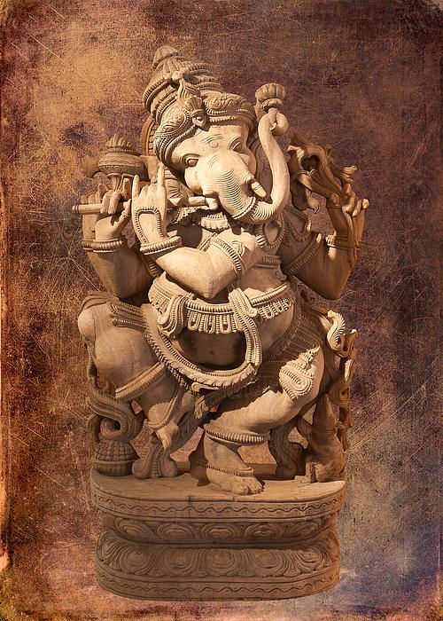 Statue of Ganesh, with textured background added to give it a vintage look.